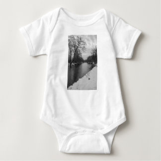 Peaceful Winter At James River Grayscale Baby Bodysuit
