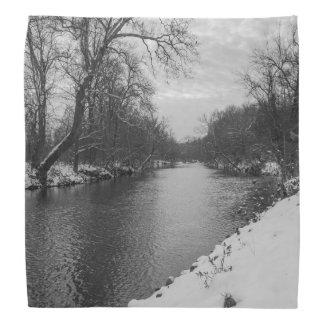 Peaceful Winter At James River Grayscale Bandana