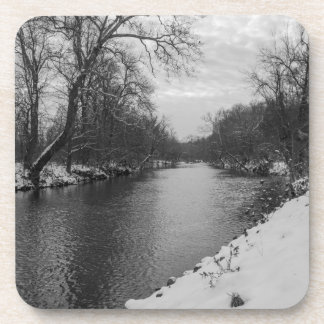 Peaceful Winter At James River Grayscale Beverage Coasters