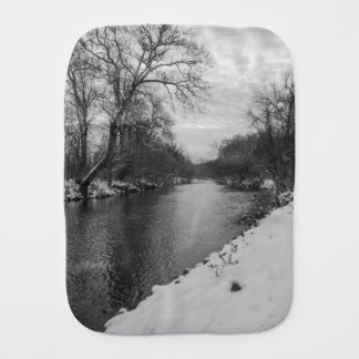 Peaceful Winter At James River Grayscale Burp Cloth