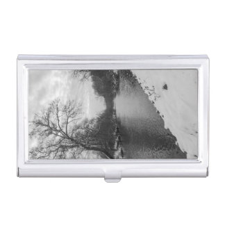 Peaceful Winter At James River Grayscale Business Card Holder