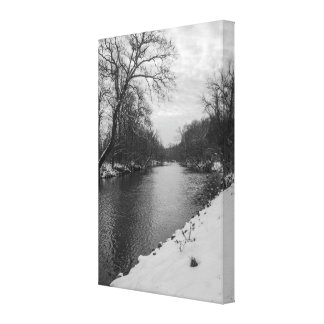 Peaceful Winter At James River Grayscale Canvas Print