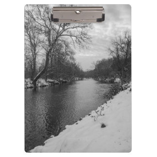 Peaceful Winter At James River Grayscale Clipboard