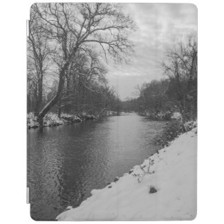 Peaceful Winter At James River Grayscale iPad Cover