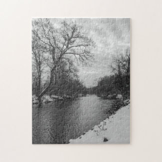 Peaceful Winter At James River Grayscale Jigsaw Puzzle