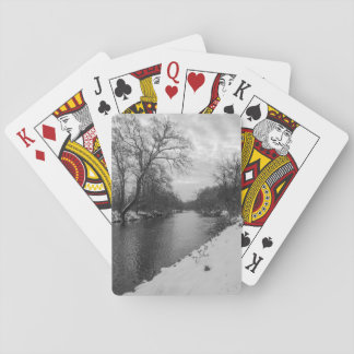 Peaceful Winter At James River Grayscale Playing Cards