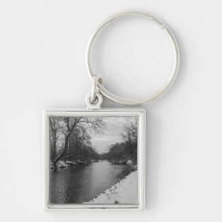 Peaceful Winter At James River Grayscale Silver-Colored Square Key Ring