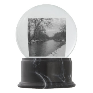 Peaceful Winter At James River Grayscale Snow Globe