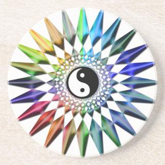 Peaceful Yin Yang Zen Yoga Colorful Meditation Tao Coaster