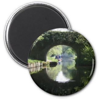 Peacefulness Blue Boat Llangollen Canal 6 Cm Round Magnet