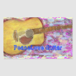 PeaceLove Guitar Rectangular Sticker