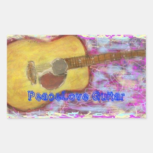 PeaceLove Guitar Rectangle Stickers