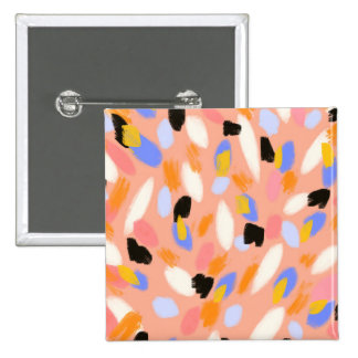 peach abstract 15 cm square badge