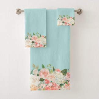 Peach and Aqua Watercolor Floral Pattern Bath Towel Set