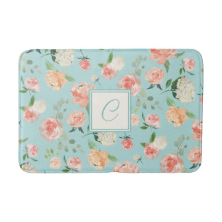 Peach and Aqua Watercolor Floral with Monogram Bath Mat