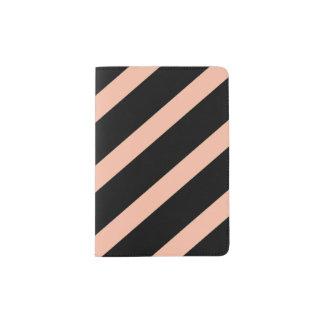 Peach and Black Stripes Passport Holder
