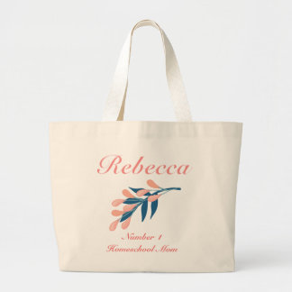 Peach and blue floral Number 1 Homeschool Mom Large Tote Bag