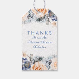 Peach and Blue Flowers Elegant Wedding Gift Tags
