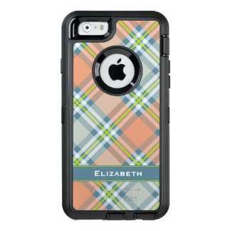 peach and blue plaid OtterBox defender iPhone case