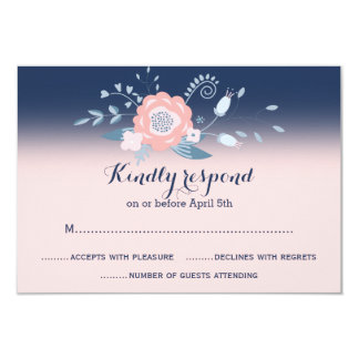Peach and blue wedding RSVP cards Monogram 9 Cm X 13 Cm Invitation Card
