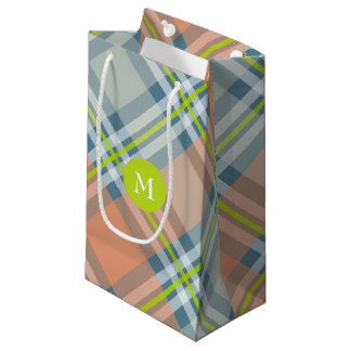 peach and blue with lime diagonal plaid small gift bag