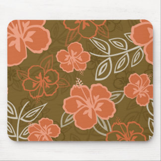 Peach and Brown Hawaiian Hibiscus Pattern Mouse Pad