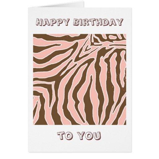 Peach And Brown Zebra Print Birthday Greeting Card