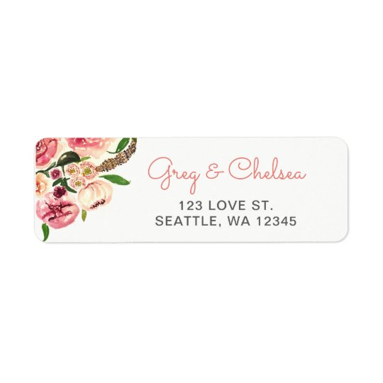 Peach and Coral Flowers Floral Wedding Return Address Label