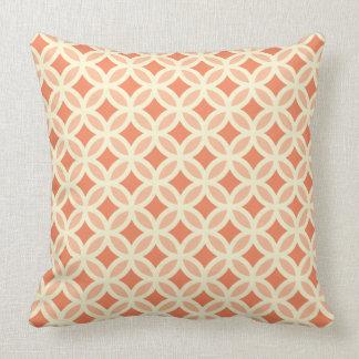Peach and Cream Circle Pattern Throw Pillow