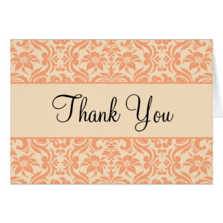 Peach and Cream Damask Custom Thank You Card