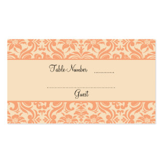 Peach and Cream Damask Wedding Table Place Cards Business Card Template