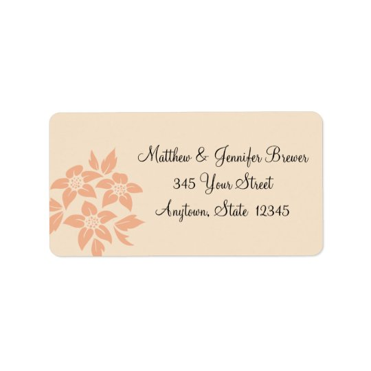 Peach and Cream Floral Envelope Address Labels
