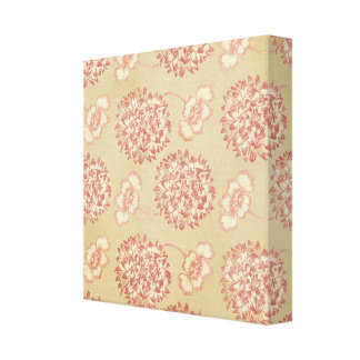 Peach and Cream Flower Pattern Canvas Prints