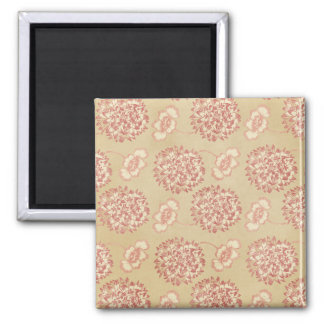 Peach and Cream Flower Pattern Magnet