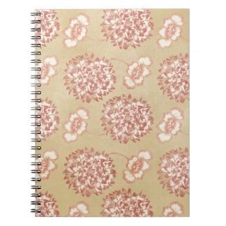 Peach and Cream Flower Pattern Notebooks