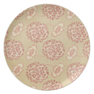 Peach and Cream Flower Pattern Plate