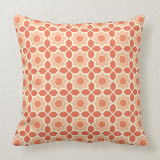 Peach and Cream Moroccan Pattern Throw Pillow