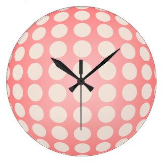 Peach and Cream Polka Dot Wall Clock