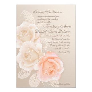 Peach and Cream Roses Wedding Invitation