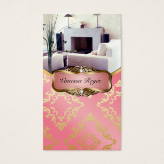 Peach and Gold Damask Photo Business Card