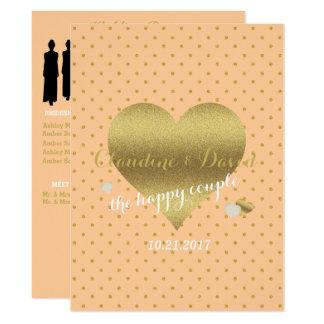 Peach And Gold Polka Dot Wedding Program Card