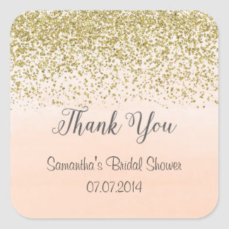 Peach and Gold Thank You Stickers