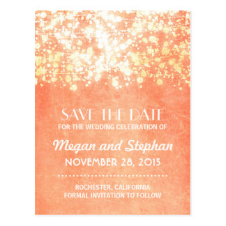 peach and gold vintage string lights save the date postcard