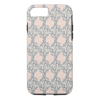 Peach and Gray Coral Damask iPhone 7 Case