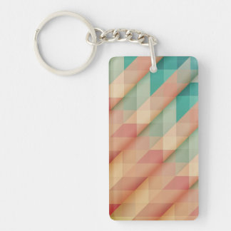 Peach and Green Abstract Geometric Key Ring