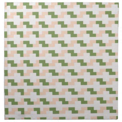 Peach and green cloth dinner napkins
