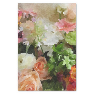 Peach and Green Floral Watercolor Tissue Paper