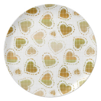Peach and Green Hearts Party Plate