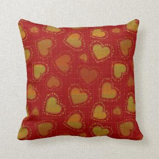 Peach and Green Hearts Throw Cushion