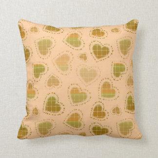 Peach and Green Hearts Throw Cushions
